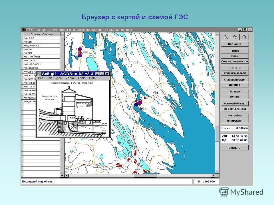 Браузер с картой и схемой ГЭС