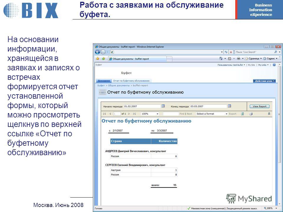 Business Information eXperience - 28 - Москва. Июнь 2008Система бронирования переговорных Работа с заявками на обслуживание буфета. На основании информации, хранящейся в заявках и записях о встречах формируется отчет установленной формы, который можн