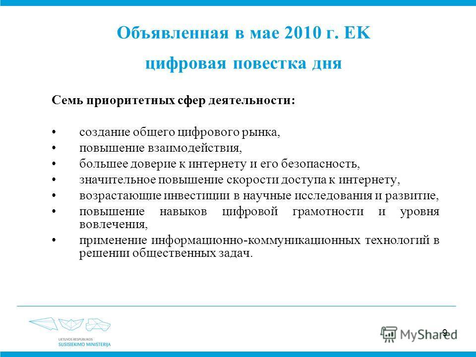 9 Объявленная в мае 2010 г. EK цифровая повестка дня Семь приоритетных сфер деятельности: создание общего цифрового рынка, повышение взаимодействия, большее доверие к интернету и его безопасность, значительное повышение скорости доступа к интернету,