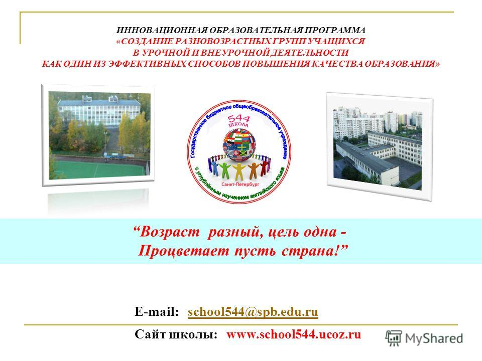 Е-mail: school544@spb.edu.ruschool544@spb.edu.ru Сайт школы: www.school544.ucoz.ru Возраст разный, цель одна - Процветает пусть страна! ИННОВАЦИОННАЯ ОБРАЗОВАТЕЛЬНАЯ ПРОГРАММА «СОЗДАНИЕ РАЗНОВОЗРАСТНЫХ ГРУПП УЧАЩИХСЯ В УРОЧНОЙ И ВНЕУРОЧНОЙ ДЕЯТЕЛЬНОС