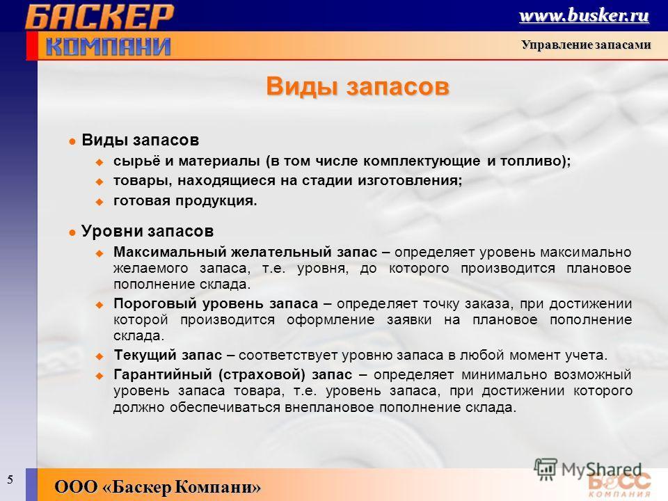 5 boss-compay.ru 55 5 БОСС-Компания - система управления хозяйственной деятельностью ООО «Баскер Компани» www.busker.ru Управление запасами Виды запасов сырьё и материалы (в том числе комплектующие и топливо); товары, находящиеся на стадии изготовлен