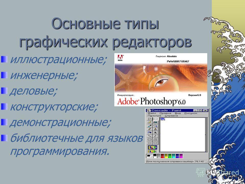 Основные типы графических редакторов иллюстрационные; инженерные; деловые; конструкторские; демонстрационные; библиотечные для языков программирования.