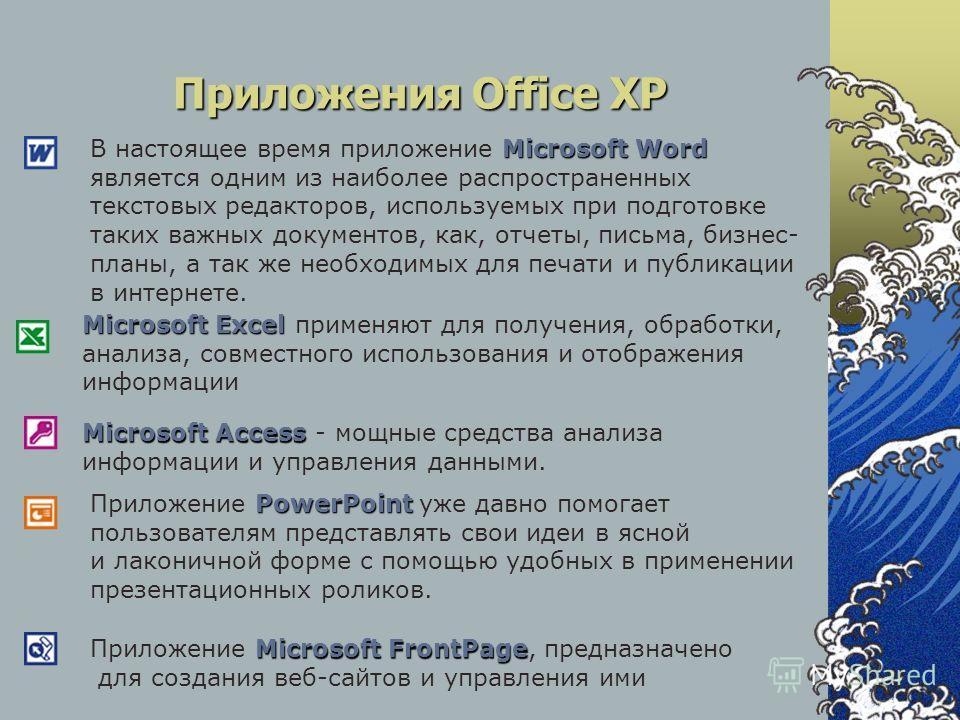 Приложения Office XP Microsoft Access Microsoft Access - мощные средства анализа информации и управления данными. Microsoft Excel Microsoft Excel применяют для получения, обработки, анализа, совместного использования и отображения информации PowerPoi