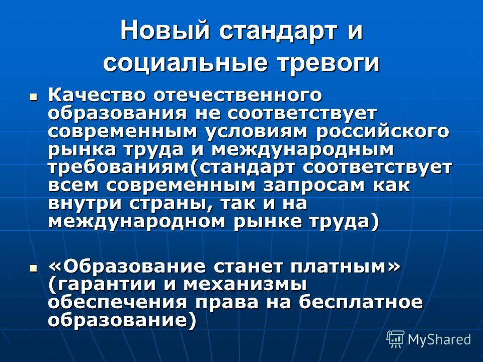 Новый стандарт и социальные тревоги Качество отечественного образования не соответствует современным условиям российского рынка труда и международным требованиям(стандарт соответствует всем современным запросам как внутри страны, так и на международн