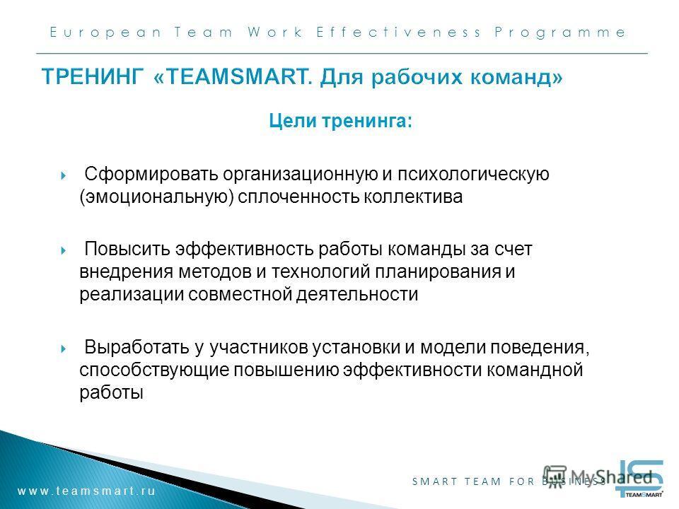 European Team Work Effectiveness Programme www.teamsmart.ru SMART TEAM FOR BUSINESS ТРЕНИНГ «TEAMSMART. Для рабочих команд» Цели тренинга: Сформировать организационную и психологическую (эмоциональную) сплоченность коллектива Повысить эффективность р