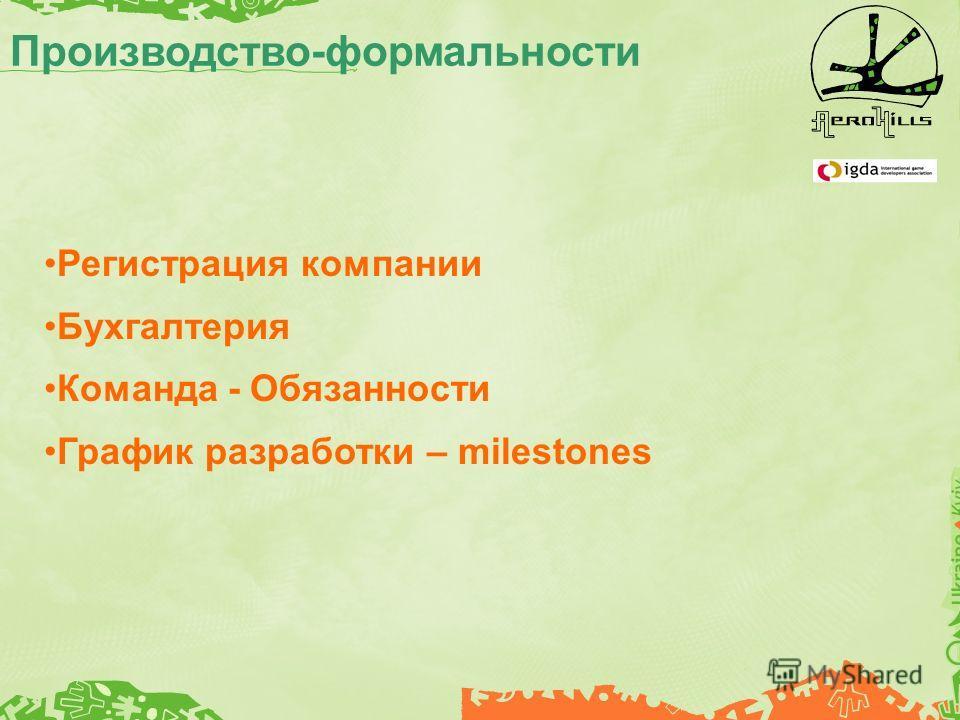 Производство-формальности Регистрация компании Бухгалтерия Команда - Обязанности График разработки – milestones