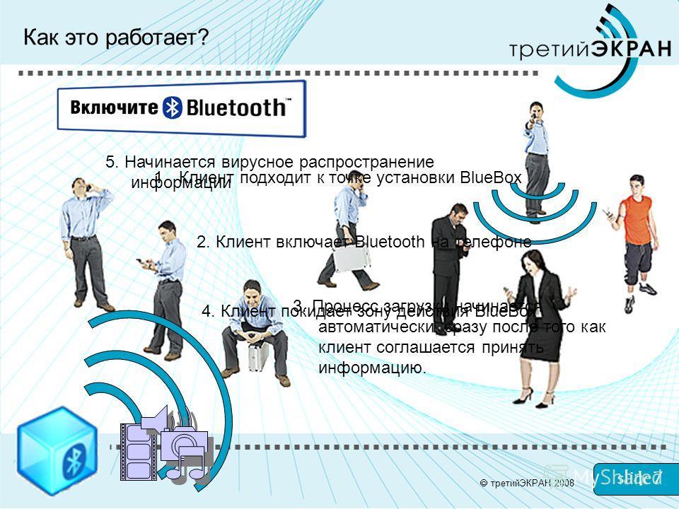 slide 7 Как это работает? 1.Клиент подходит к точке установки BlueBox 2. Клиент включает Bluetooth на телефоне 3. Процесс загрузки начинается автоматически, сразу после того как клиент соглашается принять информацию. 4. Клиент покидает зону действия