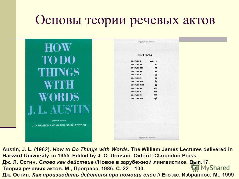 Основы теории речевых актов Austin, J. L. (1962). How to Do Things with Words. The William James Lectures delivered in Harvard University in 1955. Edited by J. O. Urmson. Oxford: Clarendon Press. Дж. Л. Остин. Слово как действие //Новое в зарубежной