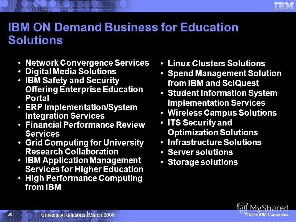 University Relations March 2006 © 2006 IBM Corporation 20 IBM ON Demand Business for Education Solutions Network Convergence Services Digital Media Solutions IBM Safety and Security Offering Enterprise Education Portal ERP Implementation/System Integ