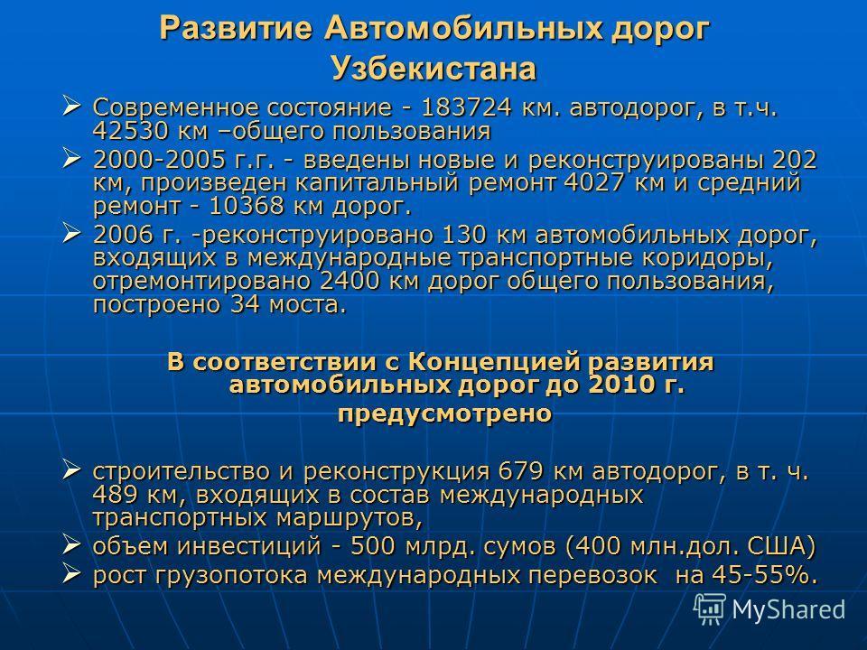 Развитие Автомобильных дорог Узбекистана Современное состояние - 183724 км. автодорог, в т.ч. 42530 км –общего пользования Современное состояние - 183724 км. автодорог, в т.ч. 42530 км –общего пользования 2000-2005 г.г. - введены новые и реконструиро