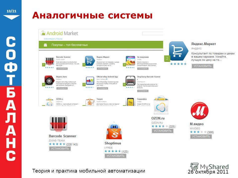 13/21 Теория и практика мобильной автоматизации Аналогичные системы 26 октября 2011