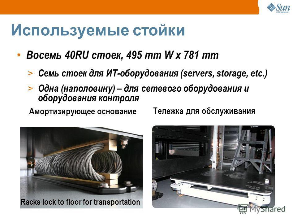 Используемые стойки Восемь 40RU стоек, 495 mm W x 781 mm > Семь стоек для ИТ-оборудования (servers, storage, etc.) > Одна (наполовину) – для сетевого оборудования и оборудования контроля Тележка для обслуживания Амортизирующее основание Racks lock to