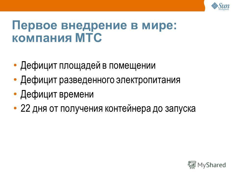 Первое внедрение в мире: компания МТС Дефицит площадей в помещении Дефицит разведенного электропитания Дефицит времени 22 дня от получения контейнера до запуска