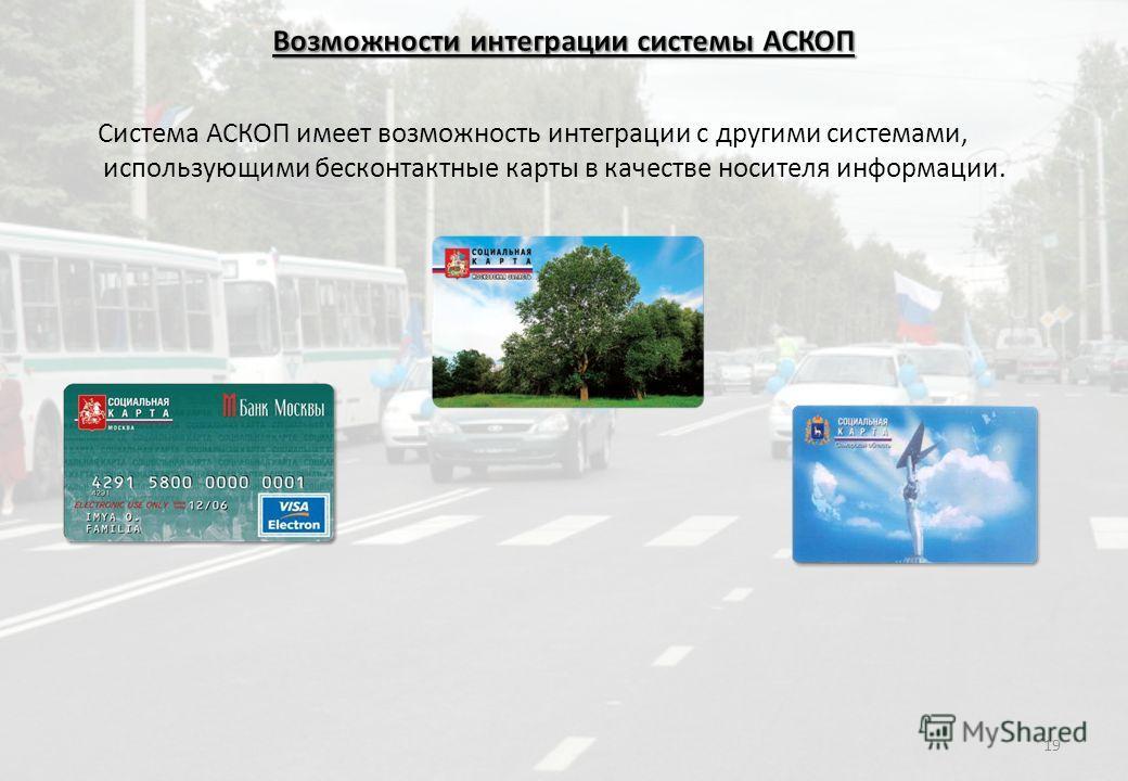 Система АСКОП имеет возможность интеграции с другими системами, использующими бесконтактные карты в качестве носителя информации. 19