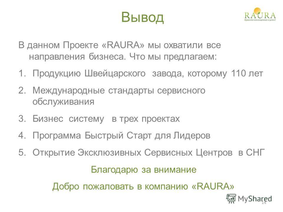 Вывод В данном Проекте «RAURA» мы охватили все направления бизнеса. Что мы предлагаем: 1.Продукцию Швейцарского завода, которому 110 лет 2.Международные стандарты сервисного обслуживания 3.Бизнес систему в трех проектах 4.Программа Быстрый Старт для