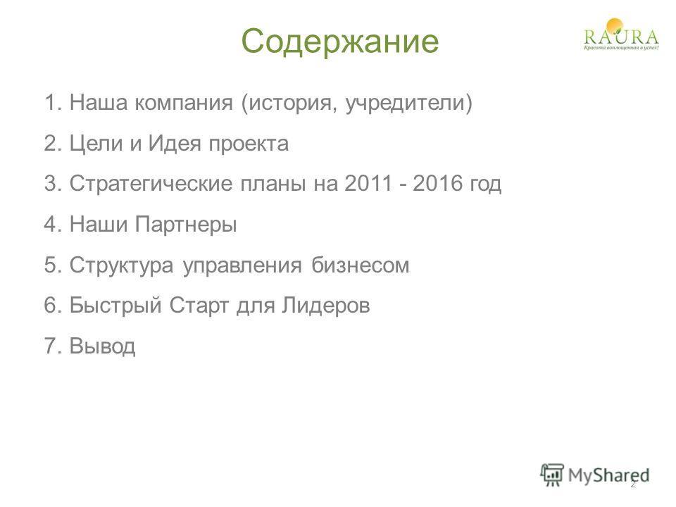 Содержание 1.Наша компания (история, учредители) 2.Цели и Идея проекта 3.Стратегические планы на 2011 - 2016 год 4.Наши Партнеры 5.Структура управления бизнесом 6.Быстрый Старт для Лидеров 7.Вывод 2