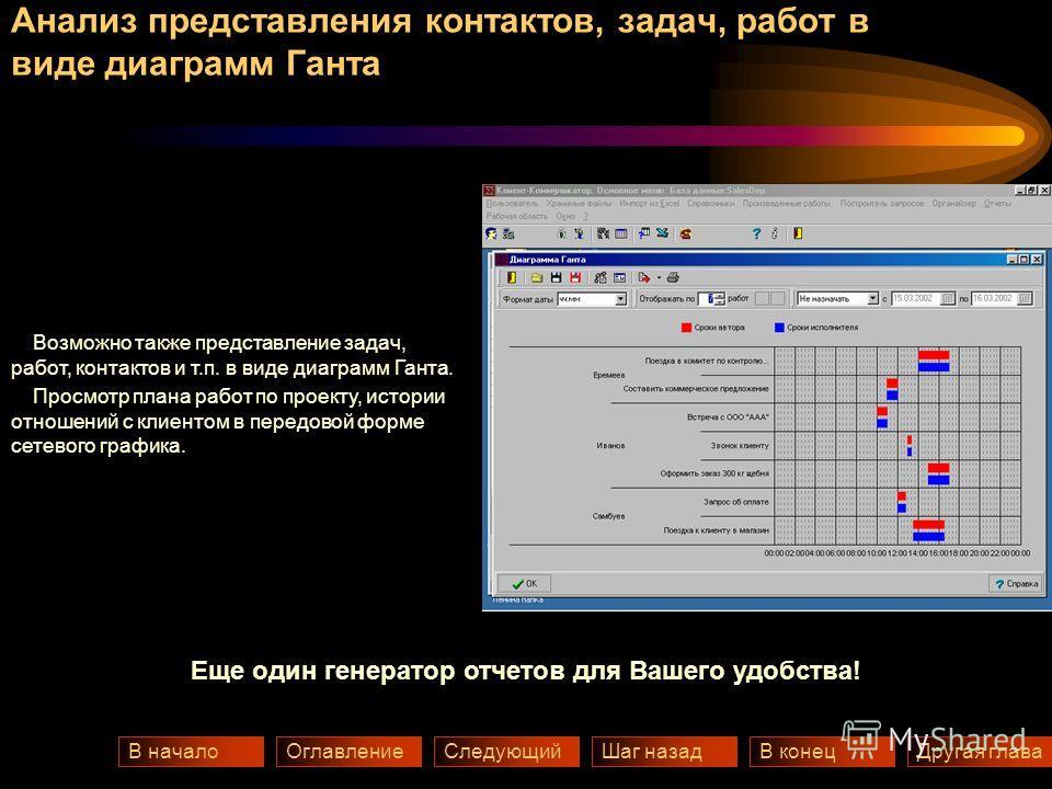 Анализ представления контактов, задач, работ в виде диаграмм Ганта Шаг назадВ конецСледующийВ началоДругая главаОглавление Возможно также представление задач, работ, контактов и т.п. в виде диаграмм Ганта. Просмотр плана работ по проекту, истории отн