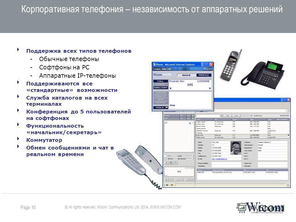 © All rights reserved. Wicom Communications Ltd. 2004. WWW.WICOM.COM Page 19 Корпоративная телефония – независимость от аппаратных решений Поддержка всех типов телефонов -Обычные телефоны -Софтфоны на PC -Аппаратные IP-телефоны Поддерживаются все «ст