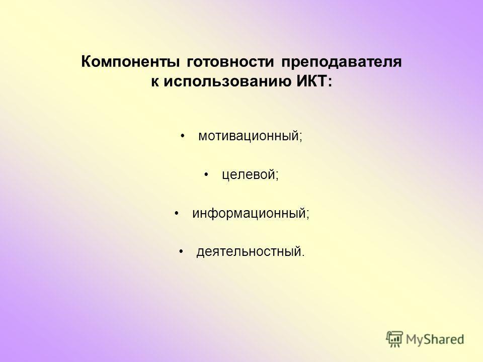 Компоненты готовности преподавателя к использованию ИКТ: мотивационный; целевой; информационный; деятельностный.