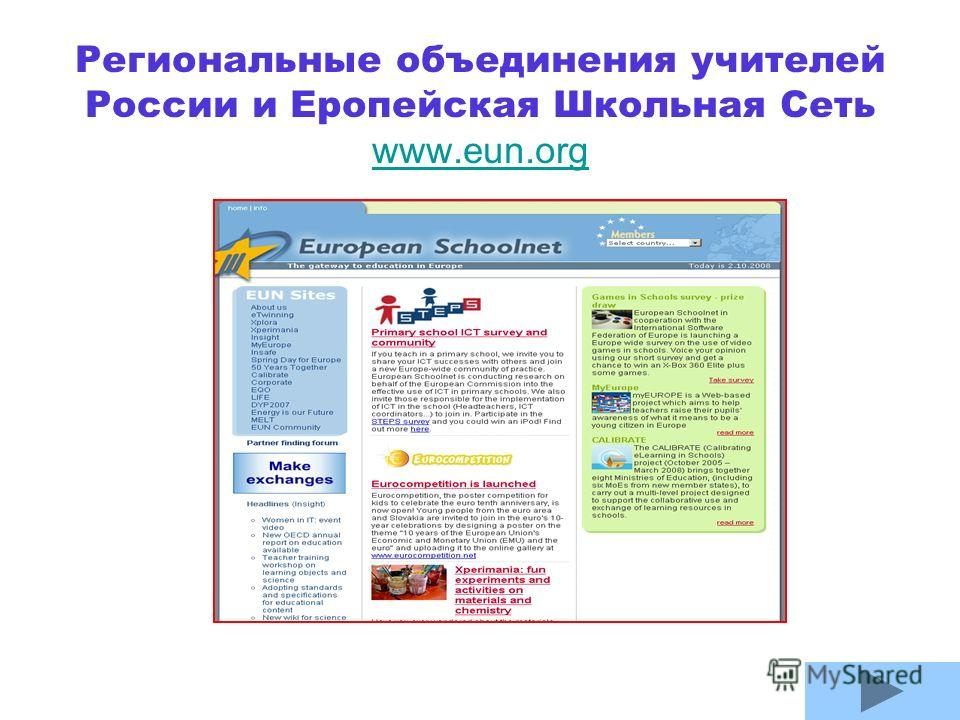 Региональные объединения учителей России и Еропейская Школьная Сеть www.eun.org www.eun.org