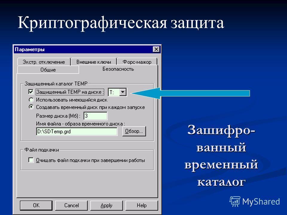 Зашифро- ванный временный каталог Криптографическая защита