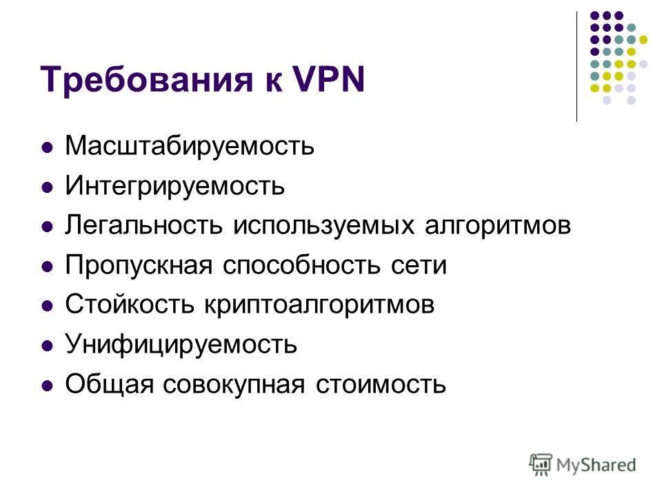 Требования к VPN Масштабируемость Интегрируемость Легальность используемых алгоритмов Пропускная способность сети Стойкость криптоалгоритмов Унифицируемость Общая совокупная стоимость
