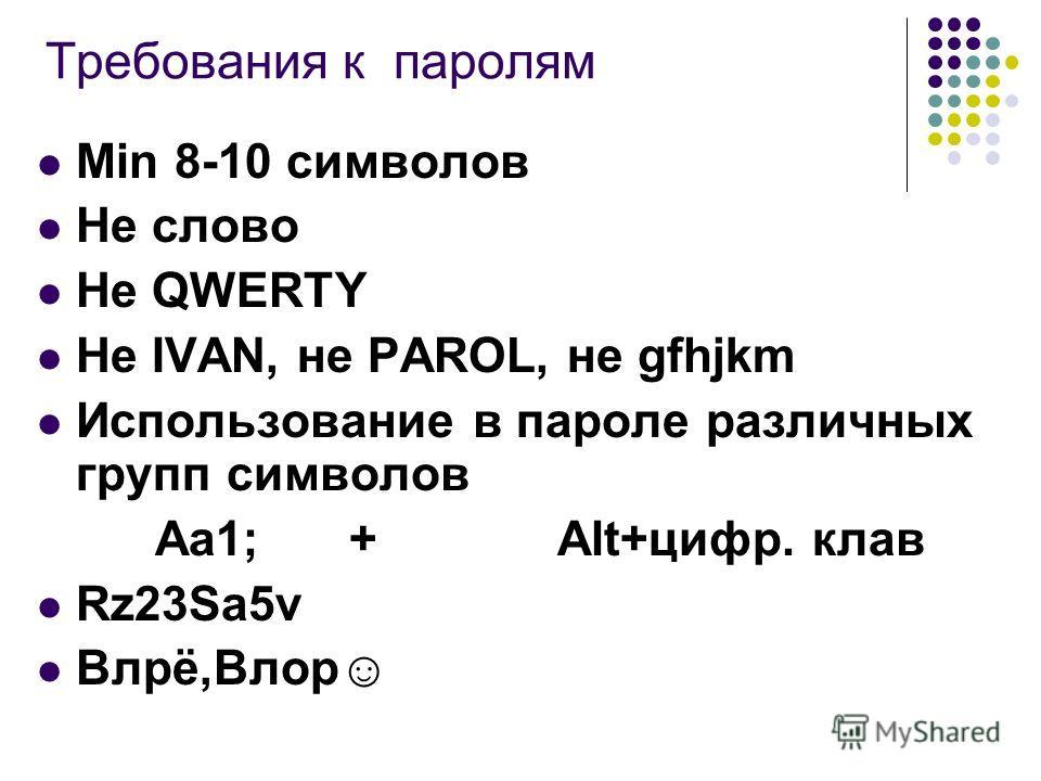 Требования к паролям Min 8-10 символов Не слово Не QWERTY Не IVAN, не PAROL, не gfhjkm Использование в пароле различных групп символов Aa1; + Alt+цифр. клав Rz23Sa5v Влрё,Влор
