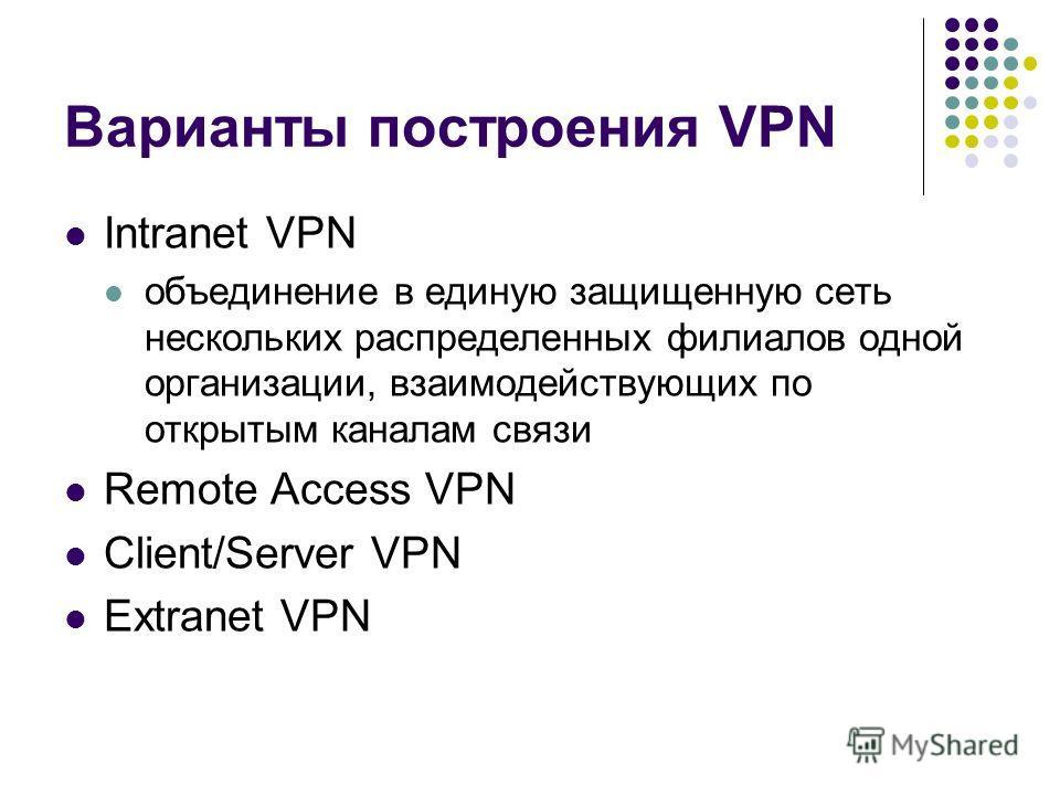 Варианты построения VPN Intranet VPN объединение в единую защищенную сеть нескольких распределенных филиалов одной организации, взаимодействующих по открытым каналам связи Remote Access VPN Client/Server VPN Extranet VPN
