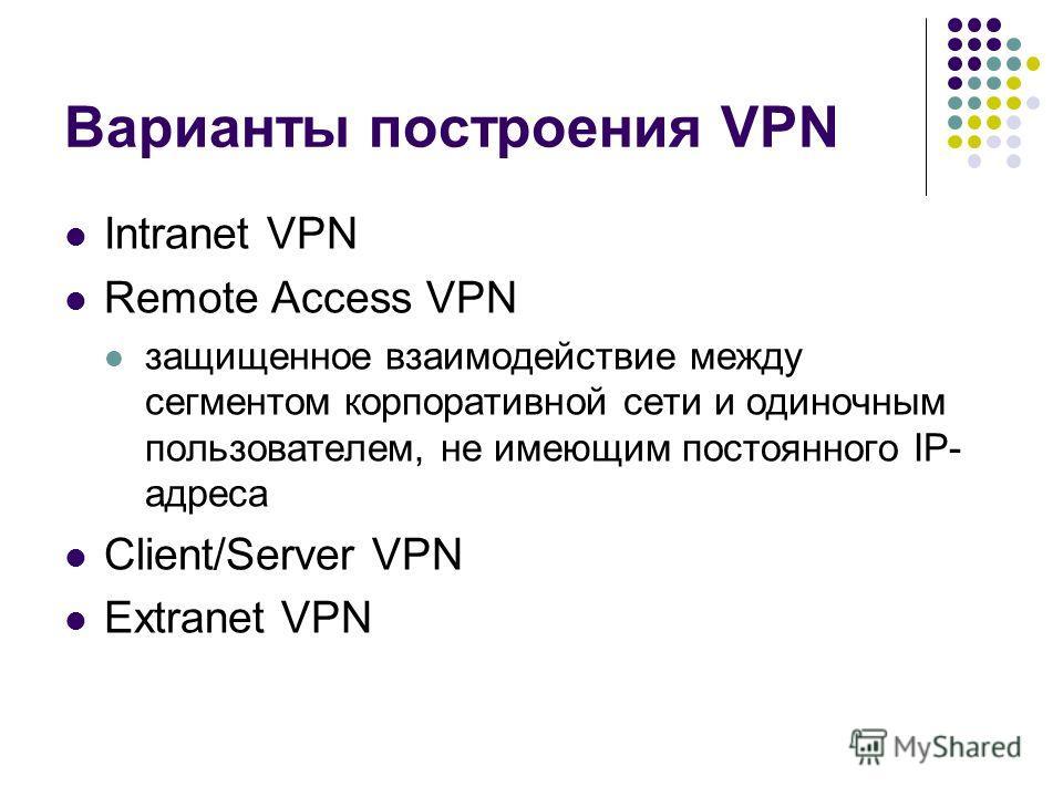 Варианты построения VPN Intranet VPN Remote Access VPN защищенное взаимодействие между сегментом корпоративной сети и одиночным пользователем, не имеющим постоянного IP- адреса Client/Server VPN Extranet VPN