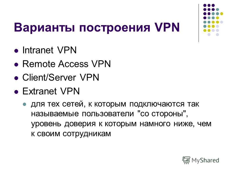 Варианты построения VPN Intranet VPN Remote Access VPN Client/Server VPN Extranet VPN для тех сетей, к которым подключаются так называемые пользователи со стороны, уровень доверия к которым намного ниже, чем к своим сотрудникам