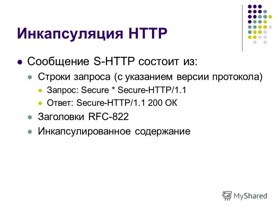 Инкапсуляция HTTP Сообщение S-HTTP состоит из: Строки запроса (с указанием версии протокола) Запрос: Secure * Secure-HTTP/1.1 Ответ: Secure-HTTP/1.1 200 ОК Заголовки RFC-822 Инкапсулированное содержание