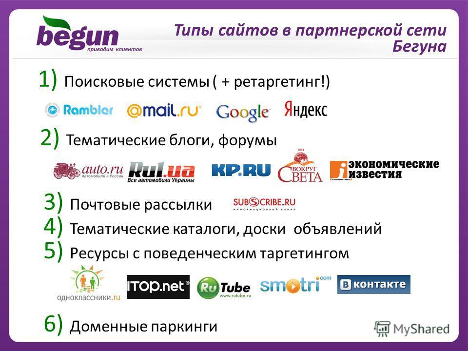 Типы сайтов в партнерской сети Бегуна 1) Поисковые системы ( + ретаргетинг!) 2) Тематические блоги, форумы 3) Почтовые рассылки 4) Тематические каталоги, доски объявлений 5) Ресурсы с поведенческим таргетингом 6) Доменные паркинги