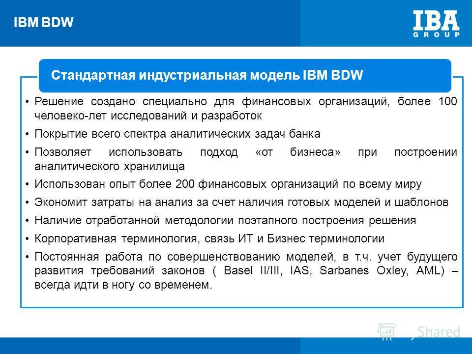IBM BDW Стандартная индустриальная модель IBM BDW Решение создано специально для финансовых организаций, более 100 человеко-лет исследований и разработок Покрытие всего спектра аналитических задач банка Позволяет использовать подход «от бизнеса» при