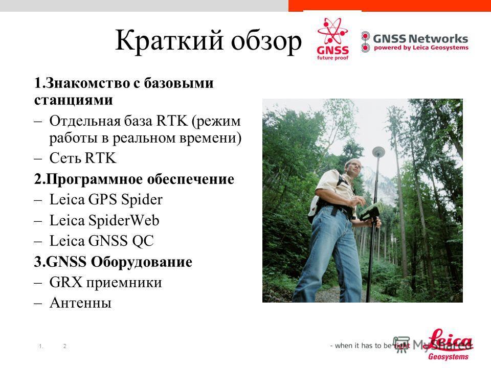 1.2 Краткий обзор 1.Знакомство с базовыми станциями –Отдельная база RTK (режим работы в реальном времени) –Сеть RTK 2.Программное обеспечение –Leica GPS Spider –Leica SpiderWeb –Leica GNSS QC 3.GNSS Оборудование –GRX приемники –Антенны