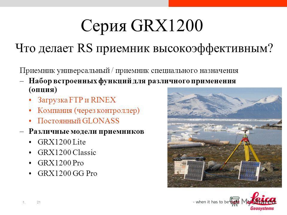 1.21 Серия GRX1200 Что делает RS приемник высокоэффективным? Приемник универсальный / приемник специального назначения –Набор встроенных функций для различного применения (опция) Загрузка FTP и RINEX Компания (через контроллер) Постоянный GLONASS –Ра