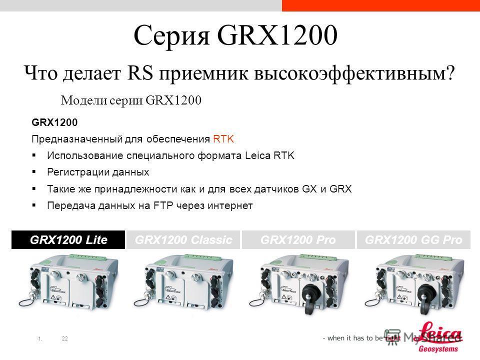 1.22 Серия GRX1200 Что делает RS приемник высокоэффективным? Модели серии GRX1200 GRX1200 Lite GRX1200 Pro GRX1200 Classic GRX1200 GG Pro GRX1200 Предназначенный для обеспечения RTK Использование специального формата Leica RTK Регистрации данных Таки