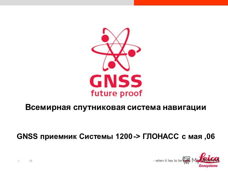 1.25 Всемирная спутниковая система навигации GNSS приемник Системы 1200 -> ГЛОНАСС с мая 06