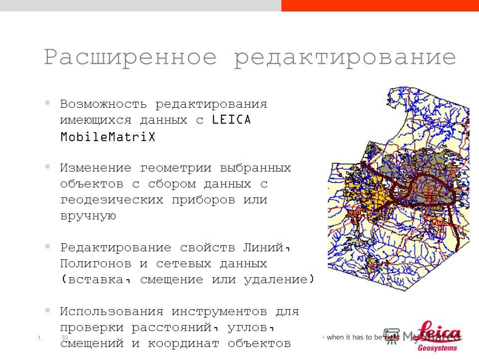 1.33 Расширенное редактирование Возможность редактирования имеющихся данных с LEICA MobileMatriX Изменение геометрии выбранных объектов с сбором данных с геодезических приборов или вручную Редактирование свойств Линий, Полигонов и сетевых данных (вст