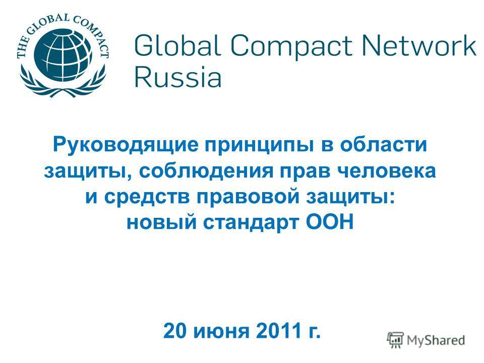 Руководящие принципы в области защиты, соблюдения прав человека и средств правовой защиты: новый стандарт ООН 20 июня 2011 г.