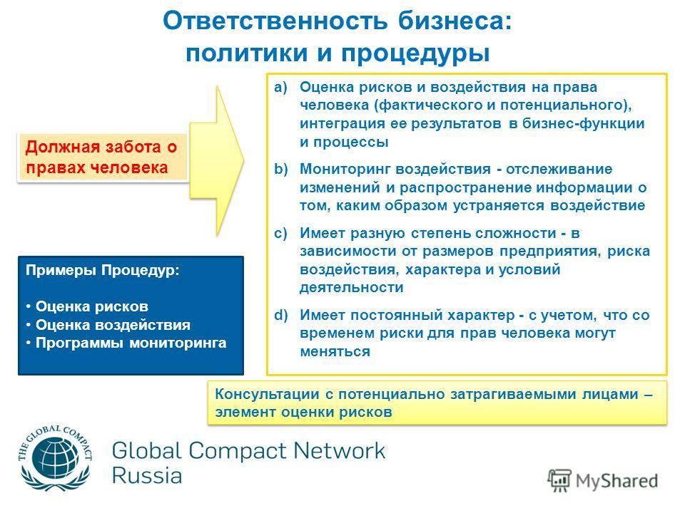 a)Оценка рисков и воздействия на права человека (фактического и потенциального), интеграция ее результатов в бизнес-функции и процессы b)Мониторинг воздействия - отслеживание изменений и распространение информации о том, каким образом устраняется воз