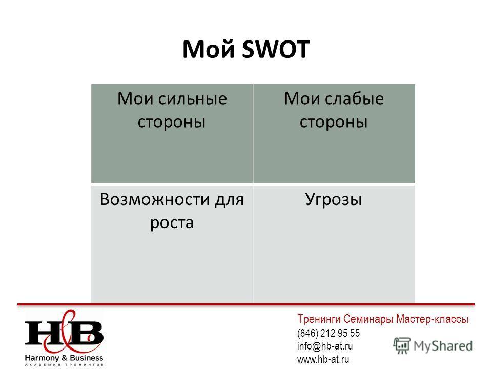 Мой SWOT Мои сильные стороны Мои слабые стороны Возможности для роста Угрозы Тренинги Семинары Мастер-классы (846) 212 95 55 info@hb-at.ru www.hb-at.ru