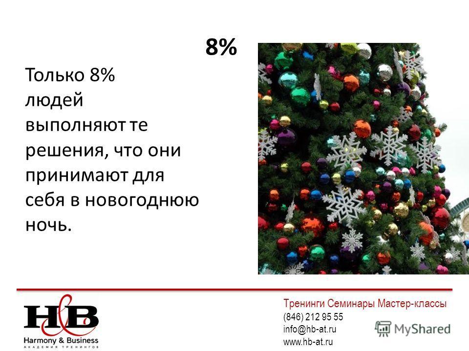 8% Только 8% людей выполняют те решения, что они принимают для себя в новогоднюю ночь. Тренинги Семинары Мастер-классы (846) 212 95 55 info@hb-at.ru www.hb-at.ru