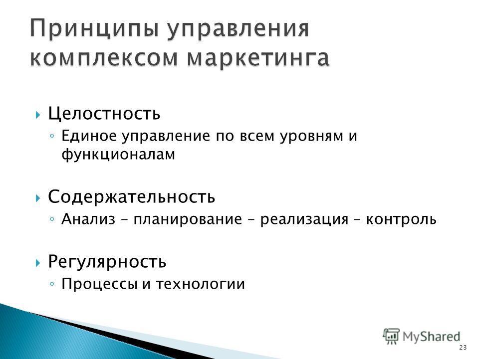Целостность Единое управление по всем уровням и функционалам Содержательность Анализ – планирование – реализация – контроль Регулярность Процессы и технологии 23