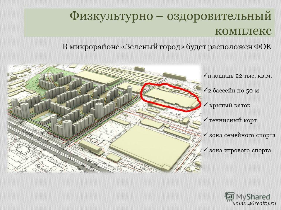 Физкультурно – оздоровительный комплекс площадь 22 тыс. кв.м. 2 бассейн по 50 м крытый каток теннисный корт зона семейного спорта зона игрового спорта В микрорайоне «Зеленый город» будет расположен ФОК www.46realty.ru