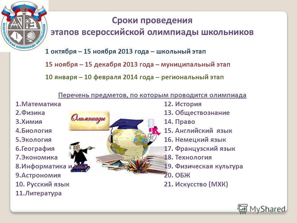 Сроки проведения этапов всероссийской олимпиады школьников 1 октября – 15 ноября 2013 года – школьный этап 15 ноября – 15 декабря 2013 года – муниципальный этап 10 января – 10 февраля 2014 года – региональный этап Перечень предметов, по которым прово