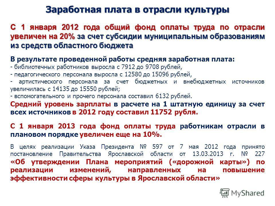Заработная плата в отрасли культуры С 1 января 2012 года общий фонд оплаты труда по отрасли увеличен на 20% за счет субсидии муниципальным образованиям из средств областного бюджета В результате проведенной работы средняя заработная плата: - библиоте