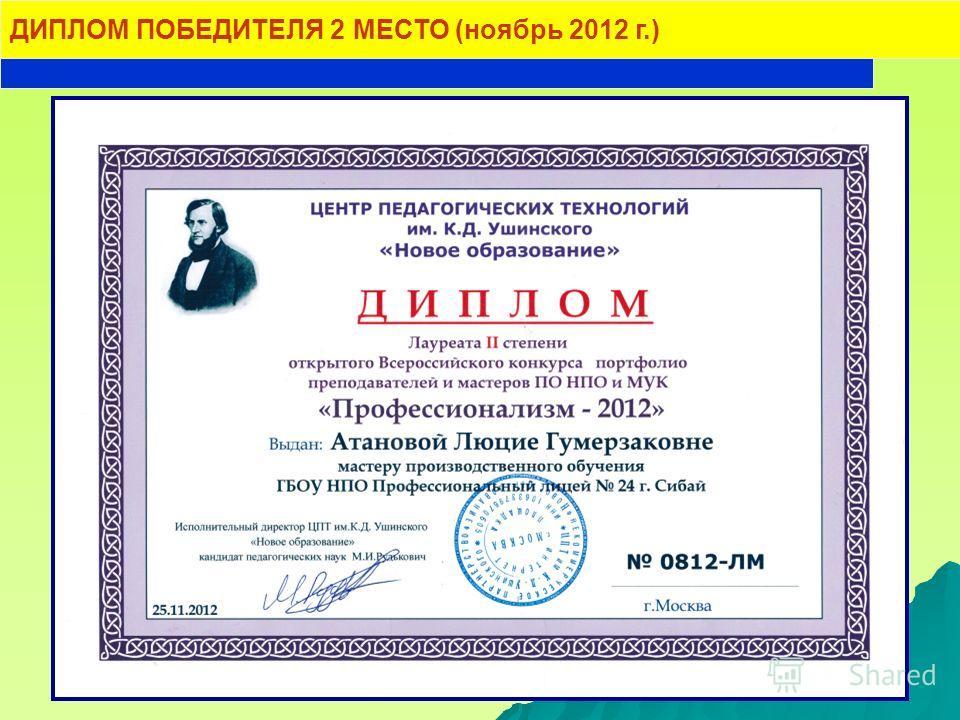 ДИПЛОМ ПОБЕДИТЕЛЯ 2 МЕСТО (ноябрь 2012 г.)