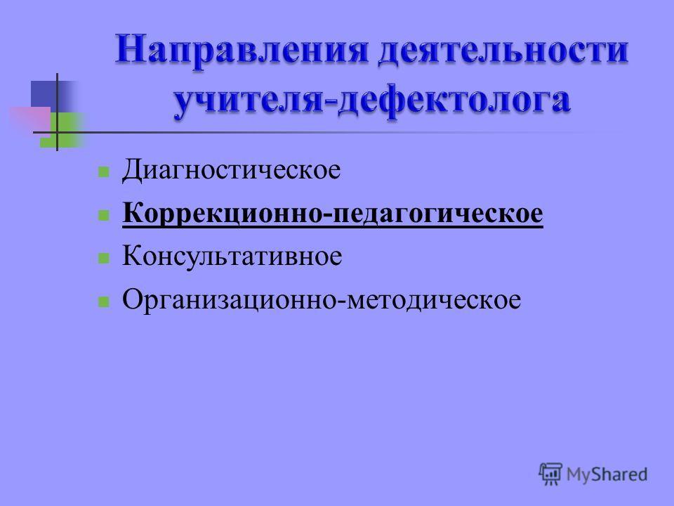 Диагностическое Коррекционно-педагогическое Консультативное Организационно-методическое