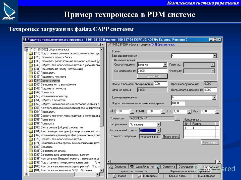 Комплексная система управления Пример техпроцесса в PDM системе Техпроцесс загружен из файла CAPP системы