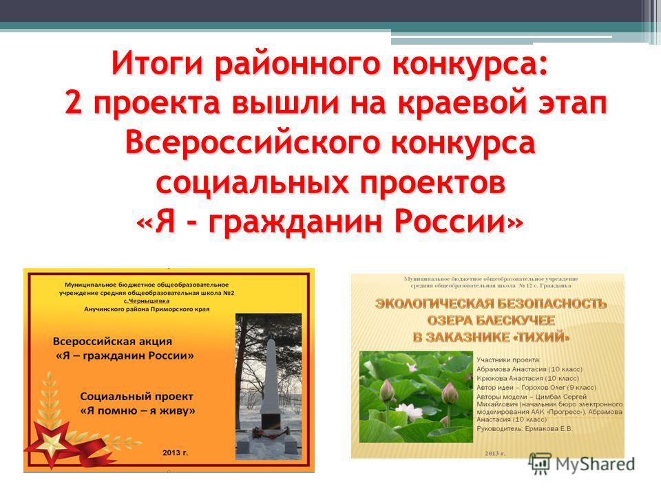 Итоги районного конкурса: 2 проекта вышли на краевой этап Всероссийского конкурса социальных проектов «Я - гражданин России»